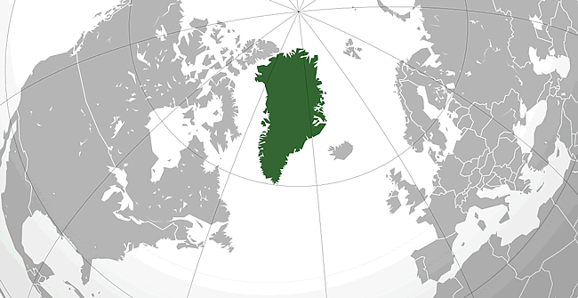 The geographic position and size of Greenland